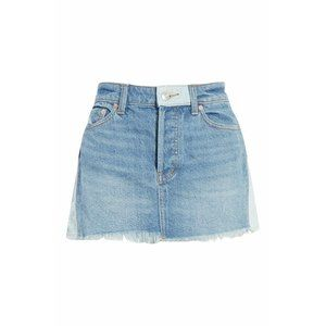 Free People NWT Faded Blue Distressed Jean Skirt